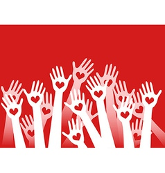 hands raised with hearts vector image