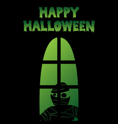 happy halloween window silhouette mummy shadow vector image vector image