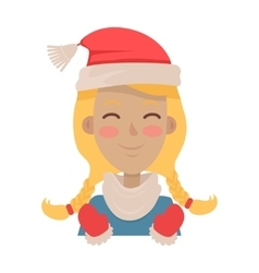 Happy young girl wears santa claus red hat vector