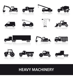 heavy machinery icons set eps10 vector image vector image