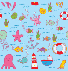 Maritime seamless design pattern vector