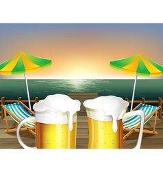 Mugs of cold beer at the beach vector image vector image