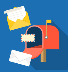 open mail box with envelope and message vector image vector image