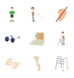 People with special needs opportunities icons set vector