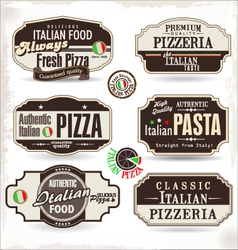 Pizza labels and badges vector