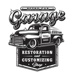 Retro car repair garage sign with retro style vector