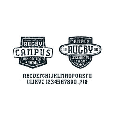 Serif font in the sport style and rugby badges vector