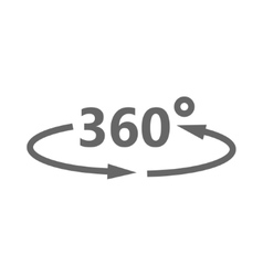 Simple icon 360 degrees 360 degrees view vector