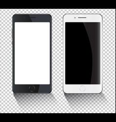 smartphones mockup black and white smartphone vector image