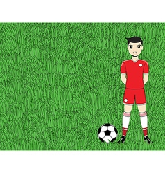 Soccer player with ball on football stadium field vector