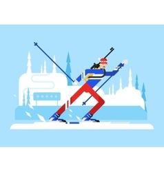 Sportsman biathlon character vector