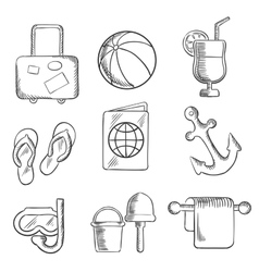 Summer vacation and travel sketched icons vector