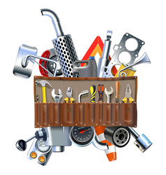 tool kit with car spares vector image vector image