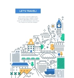 Travel composition - line flat design banner vector image vector image