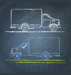 truck sketch on chalkboard vector image