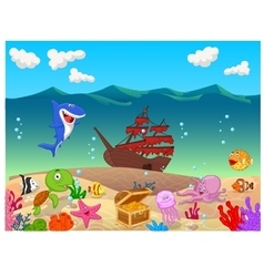 Underwater background with old ship vector image vector image