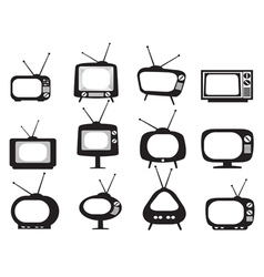 Black retro tv icons set vector