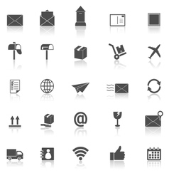 Post icons with reflect on white background vector image