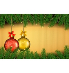 Christmas background with gift balls and fir vector