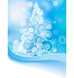 White christmas tree on abstract light eps 8 vector