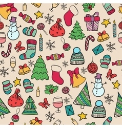 Seamless pattern doodle christmas vector