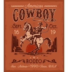 Rodeo poster with a cowboy sitting on rearing vector image