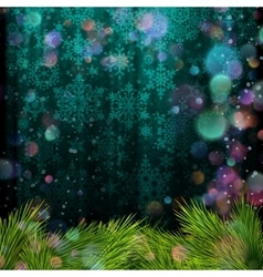 Christmas tree branch on a blue background EPS 10 vector image