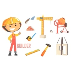 Boy Builder Kids Future Dream Construction Worker vector image