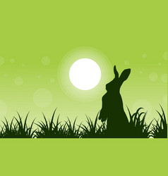 silhouette of rabbit and grass art vector image