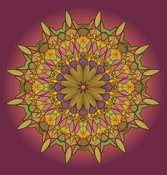Mandala round ornament green pattern on a lilac vector