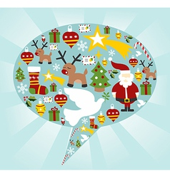 Christmas icon set in speech bubble shape vector image