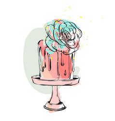 Hand drawn cute birthday or wedding collage vector