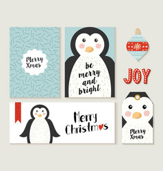 Merry christmas penguin card and label set vector