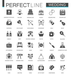 Black classic web wedding marriage icons set vector