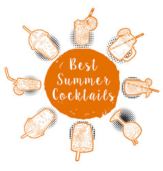 Hand drawn cocktail menu best summer cocktails vector