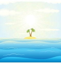 Seascape withtropical island vector