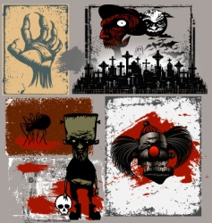 Halloween design objects vector image