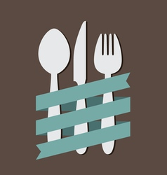 Spoon knife fork with ribbon flat vector