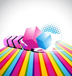 Arrow and cube background vector