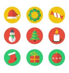 Christmas flat design icon set vector image