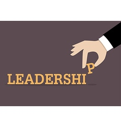 Hand inserts the last alphabet into leadership vector