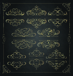 Set calligraphic design element decoration vector