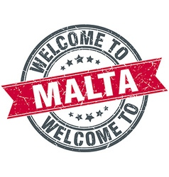 Welcome to malta red round vintage stamp vector