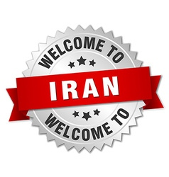 Iran 3d silver badge with red ribbon vector