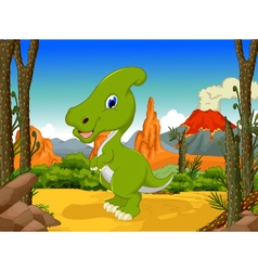 Funny parasaurolophus cartoon with volcano vector