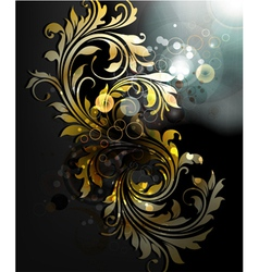 Abstract gold floral background vector