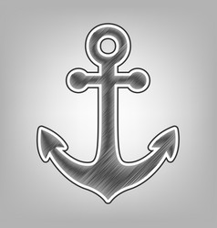 Anchor icon pencil sketch imitation dark vector