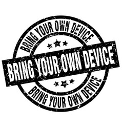 Bring your own device round grunge black stamp vector