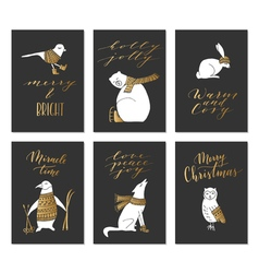 Christmas animals cards vector image