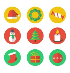 Christmas flat design icon set vector image